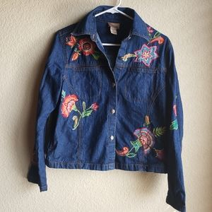 Choices Embroidered Denim Jean Jacket Floral Sz S